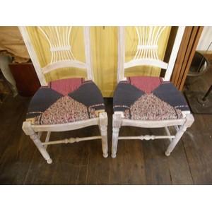 6 chaises en paille enrobée de trois tissus assortis 5
