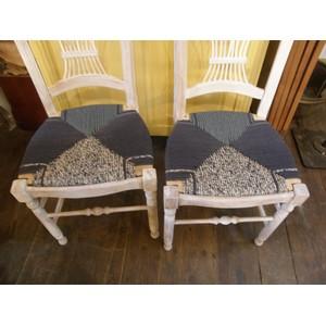 6 chaises en paille enrobée de trois tissus assortis 4
