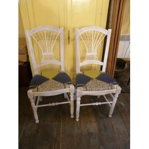 6 chaises en paille enrobée de trois tissus assortis 1
