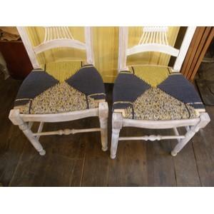 6 chaises en paille enrobée de trois tissus assortis 2