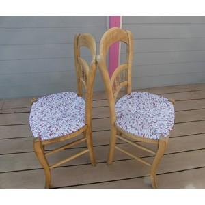 Duo de chaises en paille-tissu