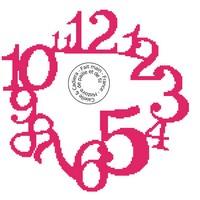 Grille gratuite point de croix - Horloge en chiffres - rouge
