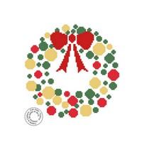 Grille gratuite - Couronne de Noël en rouge vert or