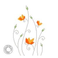 Grille gratuite - Fleurettes oranges