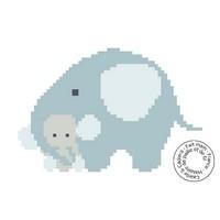 Grille gratuite - léphante et son petit