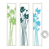 Grille gratuite - Fleurs des champs bleues et vertes