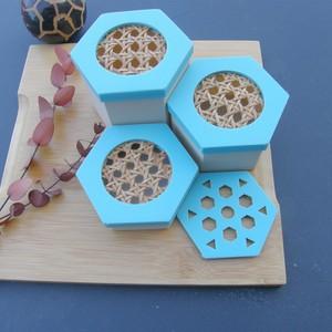 Trio de boîtes à savon hexagonales - Turquoise